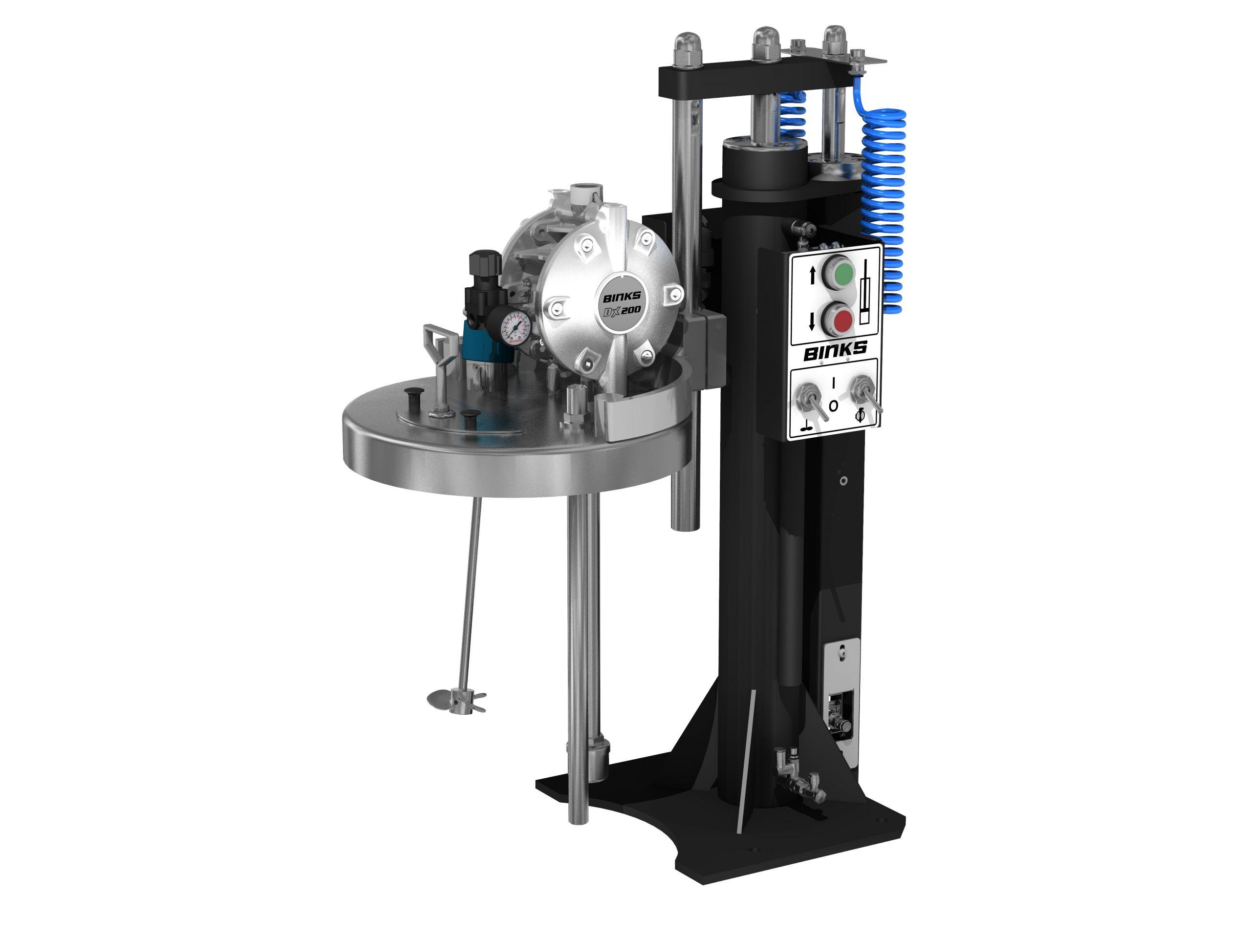 Elévateur et agitateur pneumatique avec pompe à membranes pour fût de 25L